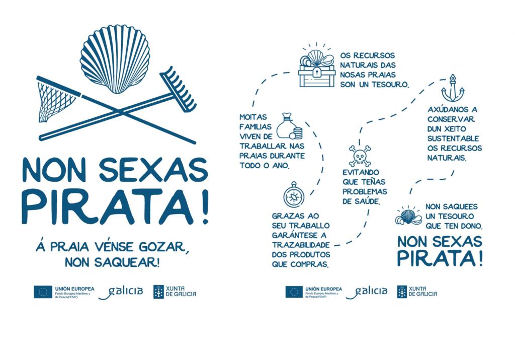 """A campaña """"Non sexas pirata! Á praia vense a gozar, non saquear"""" loita contra o furtivismo"""